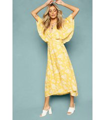 floral print angel sleeve wrap tea dress, yellow