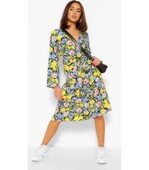 bloemenprint midi jurk met knopen, zwart