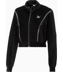 cropped velour full zip sweater voor dames, zwart, maat l | puma