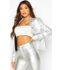 metallic silver slim fit jean jacket, silver