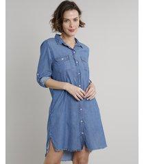 vestido chemise jeans feminino curto com bolsos manga longa azul médio