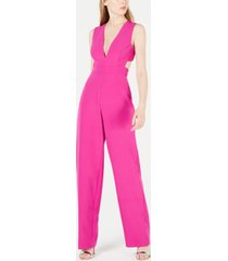 aidan by aidan mattox v-neck cutout jumpsuit