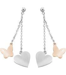 orecchini cuore e farfalla in acciaio bicolore e cristalli per donna