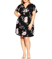 city chic precious floral print dress, size medium in black precious fl at nordstrom
