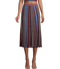 m missoni women's striped knit a-line midi skirt - mauve wine - size 42 (6)