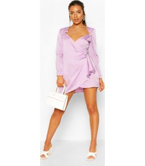 petite polka dot tie detail wrap dress, lilac