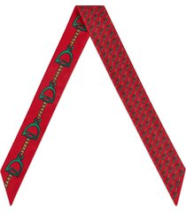 women's gucci mini stirrups print silk neck scarf, size one size - red