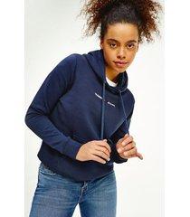 tommy hilfiger organic cotton linear logo hoodie twilight navy - xxs