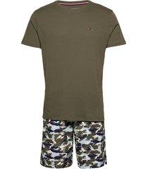 cn ss short woven set print pyjamas grön tommy hilfiger