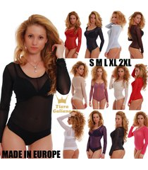 women tulle bodysuit long sleeves scoop round sheer neck thong 370 leotard mesh