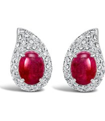 cartier 1961 18kt white gold ruby and diamond stud earrings - silver