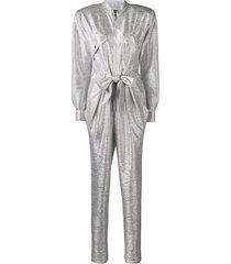 talbot runhof metallic jumpsuit - silver