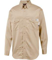 wolverine men's firezero twill long sleeve shirt - 3x khaki, size 4x