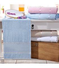 kit 4 toalhas de rosto ponto russo 100% algodão azul - bene casa