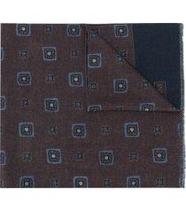 corneliani frayed printed scarf - blue