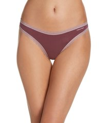 calvin klein flirty lace trim thong, size large in ripe berry at nordstrom