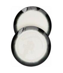 ann deumelemeester x serax jogo com 2 pratos de porcelana - branco