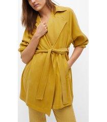 mango belt flowy trench coat