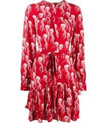 nº21 jellyfish-print wraparound dress - red