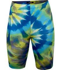 women's afrm khloe tie dye bike shorts, size large - blue