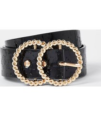 river island womens black twist double ring embossed belt