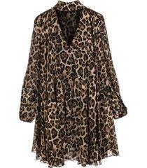 blumarine short dress in tulle with animalier print
