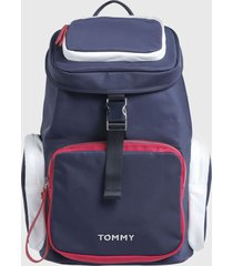 mochila th nylon backpack  azul tommy hilfiger