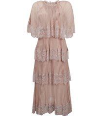 chiffon cape tiered dress