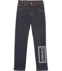 young versace logo print 5-pocket jeans