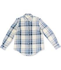 style & co plaid boyfriend shirt, created for macy's