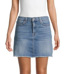 7 for all mankind women's frayed denim skirt - sky - size 32 (10-12)