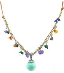 t.r.u. by 1928 silver tone leather cord multi genuine stone drop necklace