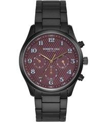 kenneth cole new york men's black stainless steel bracelet watch, 42mm