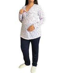 pijama longo maternidade e amamentação inverno floral linda gestante feminino - feminino