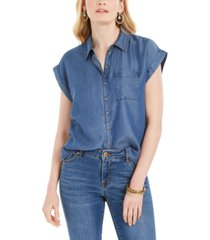 style & co button-front short-sleeve chambray top, created for macy's
