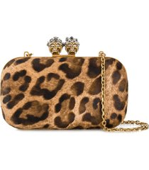 alexander mcqueen king queen leopard clutch - neutrals