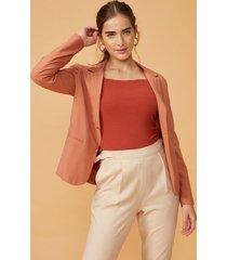 amaro feminino blazer viscose leve, laranja queimado