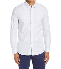 ted baker london lintsy slim fit microprint button-up shirt, size 7 in white at nordstrom