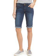 wit & wisdom ab-solution cuffed denim shorts, size 8 in blue at nordstrom