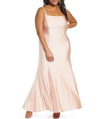 plus size women's morgan & co. power satin trumpet gown