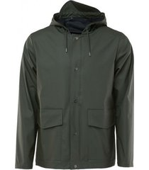 rains regenjas short hooded coat green