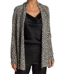 saks fifth avenue women's collection animal-print cashmere cardigan - animal combo - size xs