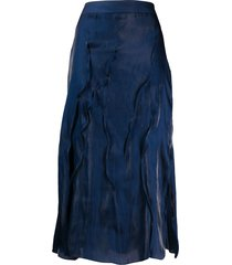 kenzo textured-effect midi skirt - blue