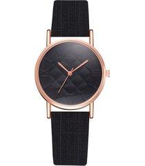 reloj mujer pulso cuero pu cuarzo casual 987 negro