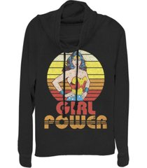 fifth sun dc wonder woman girl power sunset portrait cowl neck women's pullover fleece