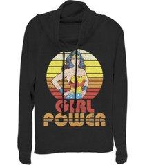 fifth sun dc wonder woman girl power sunset portrait cowl neck juniors pullover fleece