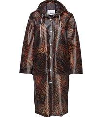 biodegradable jacket regnkläder brun ganni