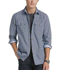 construct blue check shirt jacket