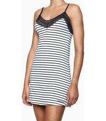 pijama feminino camisola rendas listrado preto e branco calvin klein - s