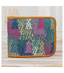cotton and leather wallet, 'colors of the meadow' (guatemala)